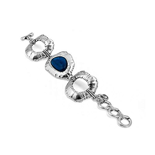Ciclon Pulsera Acero con Cristal de Murano Azul. 01062256