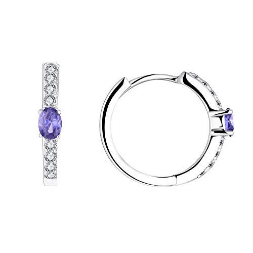 JO WISDOM Creolen Ohrringe Silber 925 Damen mit AAA Zirkonia und Geburtsstein (Tansanit)