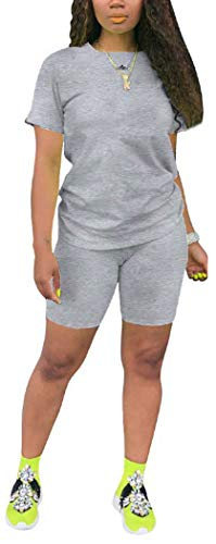 TOPONSKY - Conjunto de 2 piezas para mujer, traje deportivo, camisa, pantalones cortos, conjuntos ajustados