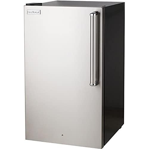 Fire Magic 20-Inch 4.0 Cu. Ft. Premium Left Hinge Compact Refrigerator - Stainless Steel Door/Black Cabinet - 3598-DL
