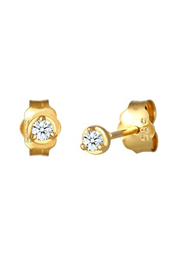 DIAMORE Ohrringe Damen Ohrstecker Solitär Basic Edel mit Diamant (0.06 ct.) in 585 Gelbgold