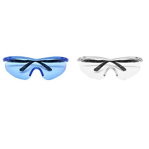 NUOBESTY 2 piezas Protección Gafas De Seguridad Para Niños Anti Niebla Ojos Con Lentes Antideslizante Para Cs Juego De Disparos De Batalla Pistola De Agua (Blanco Azul)