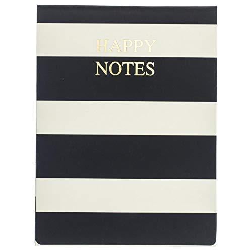 """Graphique Nota de bolso, design listrado preto e branco – Inclui 75 folhas, 7,62 cm x 10,16 cm com fecho magnético e divertido, citação """"Happy Notes"""" enfeitada em folha dourada – perfeita para anotações"""