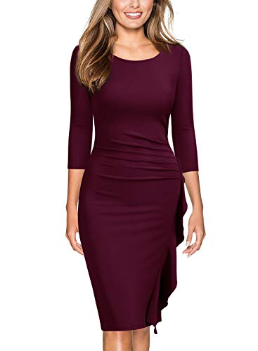 Miusol Women's Business Retro Ruffles 2/3 Sleeve Cocktail Pencil Dress,Large,Wine