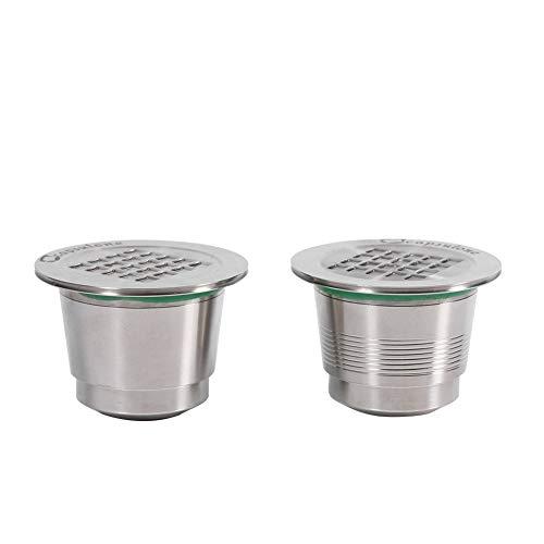 Yosoo Wiederverwendbare Kaffeekapsel aus Edelstahl, Klappdesign, mit Löffel, Dichtungsring und Reinigungsbürste für Nespresso-Maschine, Poli-miroir+Fileté
