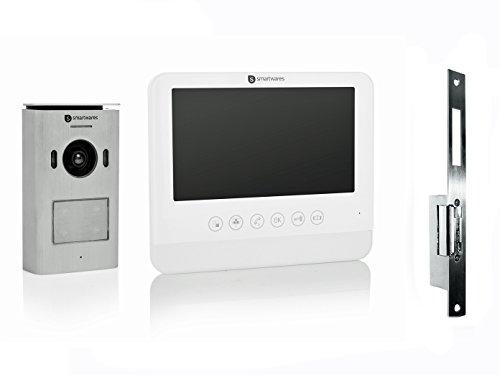 Set: inparerende video-intercom met 7 inch LCD-scherm en opener voor deuren die wijd openen.