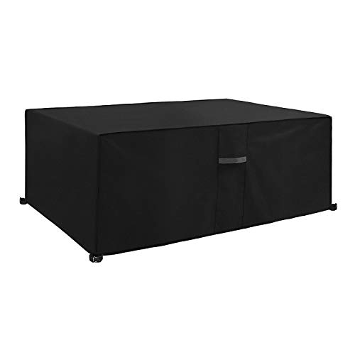 Dokon Garden Furniture Cover with Air Vent, Waterproof, Windproof, Anti-UV, Heavy Duty Rip Proof 600D Oxford Fabric Patio Set Cover, Garden Table Cover, Rectangular (170 x 94 x 71cm) - Black