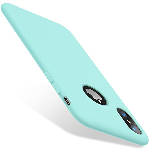 """TORRAS Liquid Silicone iPhone X Case with Shockproof Full Protection Soft [Microfiber Cushion] Slim Fit Phone Case for iPhone X 5.8"""", Baby Mint"""