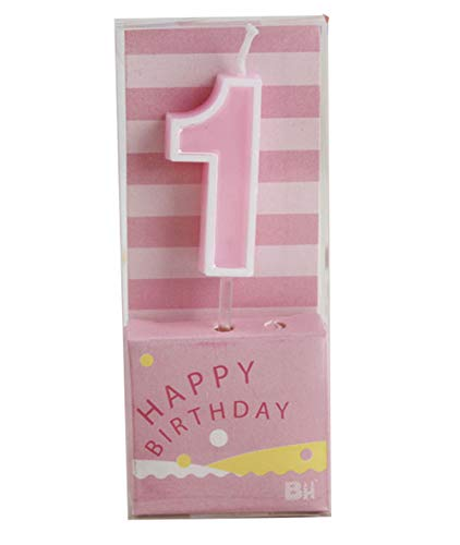 QQYL Rainbow Number 1 Birthday Candle Pink for Cakes Baby Boy Girl Kids Women 1 10 11 12 13 14 15 16 17 18 19 21 Birthday Candles (Number 1) - 100% Picture Show Upgrade Quality