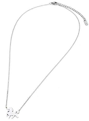 Musthaves halsketting met eenhoorn/eenhoorn, roestvrij staal, lengte instelbaar 40-47 cm