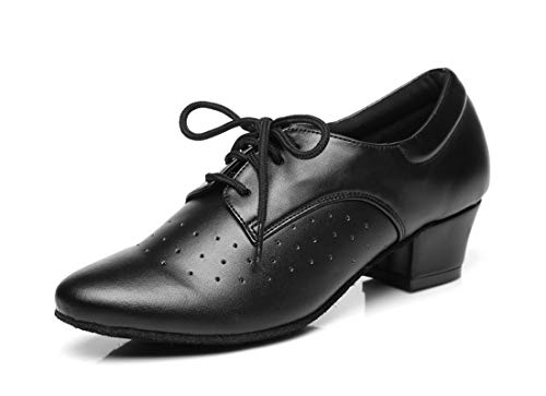 MINITOO Chaussures de danse latine à lacets pour femme L291 - Noir - Noir , 36.5 EU
