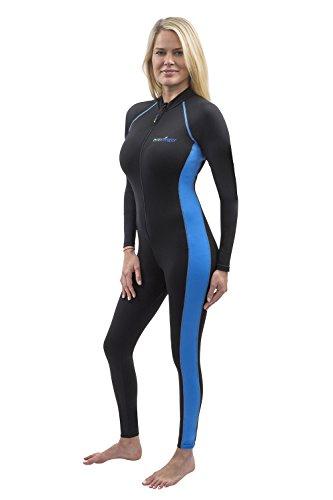 Damen Ganzkörper-Badeanzug, UV-Schutz, LSF 50+, Chlorbeständigkeit, Schwarz / Blau - - Medium