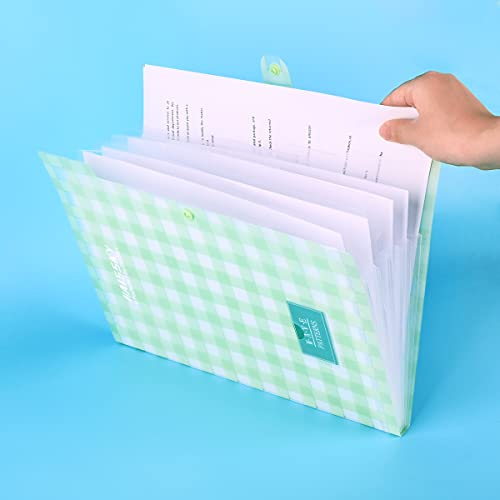Expanding File Folder 6 Pockets, Guzack Accordion Document Folder Organizer A4 Letter Paper File Organizer Pockets with Buckle Closure, Plastic Expandable File Folders for School Office Home Photo #2