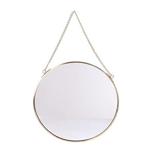 NYSJLONG Espejo Redondo para Colgar en la Pared Espejo Dorado Tocador Espejos de Maquillaje Decoración de baño
