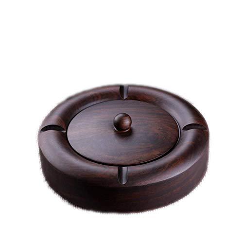 Bandeja de cenizas para fumar, cenicero de ébano, cenicero de cigarrillos para soportes de uso exterior o exterior para fumadores, cenicero de madera con tapa, (producto fino) bandeja de ceniza de tab