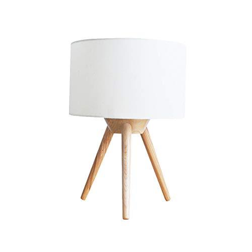 Drie voeten tafellamp E27 bureaulamp, massief hout tafellamp met stof schaduw nachtlampjes nachtlampje voor slaapkamer dressoir