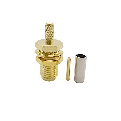 ZHOUCHENPQ Vergoldeter SMA-Stecker SMA Weiblicher Jack-Zentrum-Nuss-Bulkhead Crimp für RG174 RG316 LMR100-Kabel (Color : 1pcs)