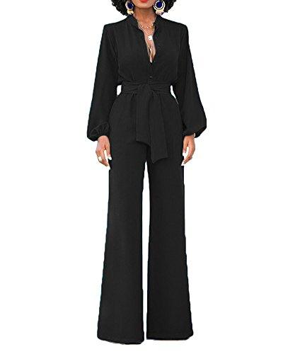 ShiFan Rompers Tuta Elegante Pantaloni Lungo Jumpsuit Vestito Abito Cerimonia da Donna Nero S