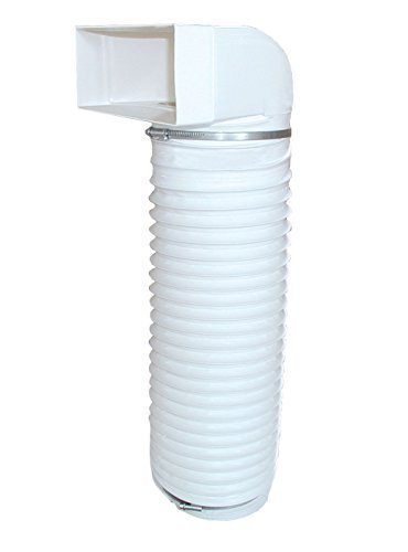 Abluft Umlenkstück mit Flexschlauch von Flachkanal PowAir 230 x 80mm zu Ø 150mm Rundkanal 100cm lang