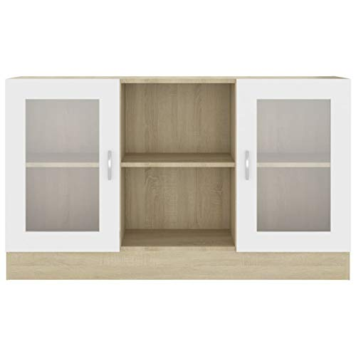 Festnight Aparador Salon | Armario Salon |vitrinas para Salon | Armario de Almacenamiento | Aparador Cocina Blanco y Roble Sonoma, 120x30,5x70 cm