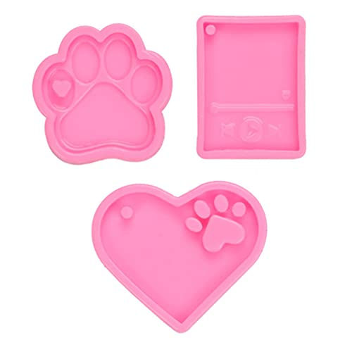 JEJO 3 Pieces/Set Dogs Paw Love Heart Mp3 Keychain Epoxy Resin Mold Jewelry Pendants Silicone Mould DIY Crafts Ornaments Mold,Sculpture Casting Products,Pink