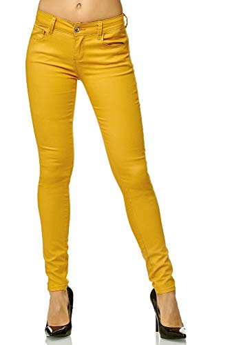 Elara Damen Stretch Hose Push Up Jeans Gummizug Chunkyrayan Y5435 Senfgelb 38 (M)