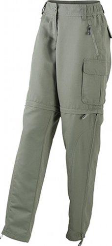 James & Nicholson - Hose Ladies' Zip-Off Pants, Mutande Donna, Verde (dusty-olive), Medium (Taglia Produttore: Medium)