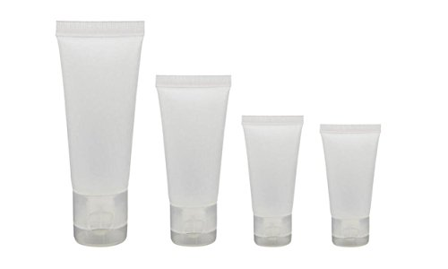 20PCS Empty Refillable Translucent Frosted Plastic Travel Cosmetic Make up Soft Tubes Container Bottle with Flip Cap Shower Lotion Cleanser Packing Sample Bottles (100ML)