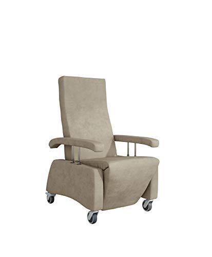 DEVITA - Pflegesessel Fernsehsessel Relaxsessel LUTRA Easy mit Rollen, versenkbare Armlehnen und manuell Verstellbarer Rückenlehne bis 120 kg - beige mikrofaser