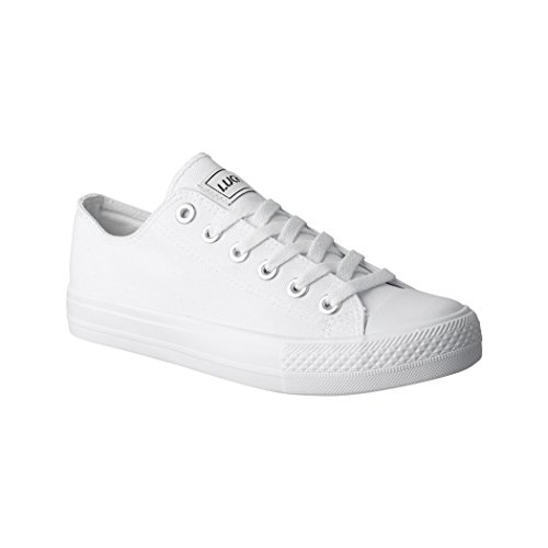 Elara Lucky-Z Unisex Sneaker Textil Turnschuh Low top Chunkyrayan 089-A-AllWhite-41