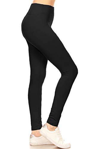 HLYR128-BLACK Active Flex Yoga Solid Leggings, One Size
