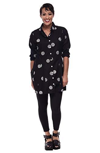 Zoe Shirt in Black Thumbprint by Snapdragon & Twig (L)