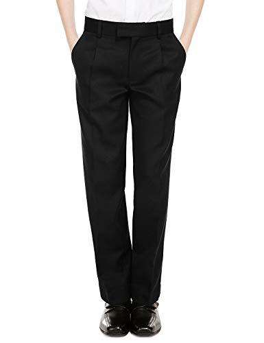 Boys Slim Leg Black Charcoal Grey Slim Fit School Trousers Adjustable Waist Age 3-16 Years