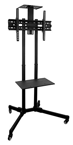 Mount-It! TV Cart Mobile TV Stand Wheeled Height Adjustable Flat Screen Television Floor Stands with Rolling Casters and Shelf, VESA Compatible TV Mount Bracket Fits Displays 37 to 70 Inch, 110 Lbs