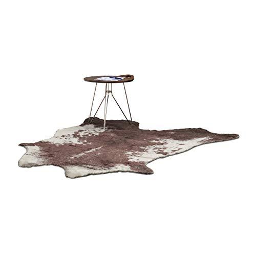 Relaxdays Teppich Kunstfell, Läufer Kuhfell Imitat, Teppichläufer Fellimitat, Vorleger 140 x 160, Fellteppich Kuh, Natur