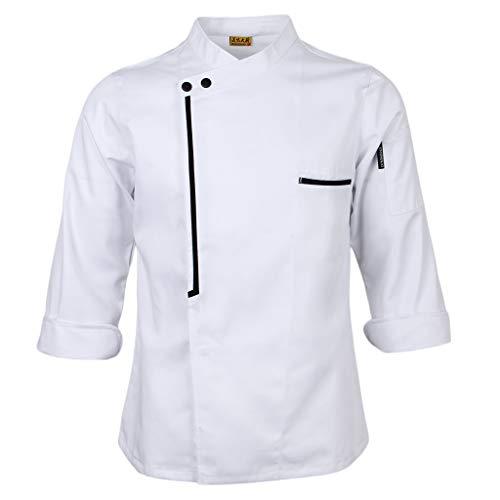 chiwanji Langarm Kochjacke Bäckerjacke Kochkleidung Gastronomie Jacke Hemd Gastronomiejacke Arbeitsjacke Chefkoch Berufsbekleidung - Weiß, XL