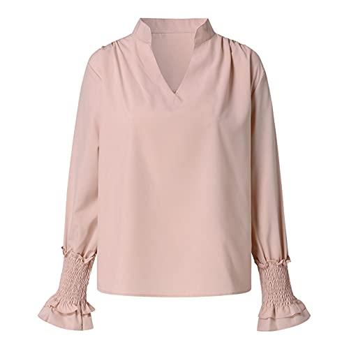 Wave166 Camisetas de mujer de un solo color, blusa fruncida, cuello en V, manga enrollada, blusa informal, para trabajo, camisa elegante, top de otoño, corsé para mujer, caqui, XXL