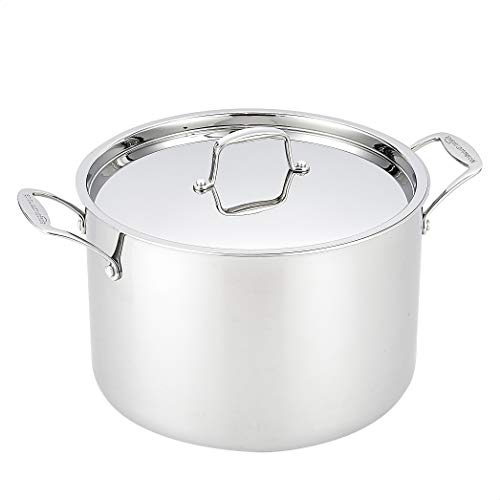 Amazon Commercial Stock Pot with Lid, Tri-Ply Stainless Steel, 11 litres
