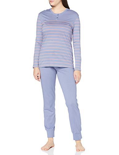 Schiesser Damen Anzug Lang 161098 Zweiteiliger Schlafanzug, Jeansblau, 42