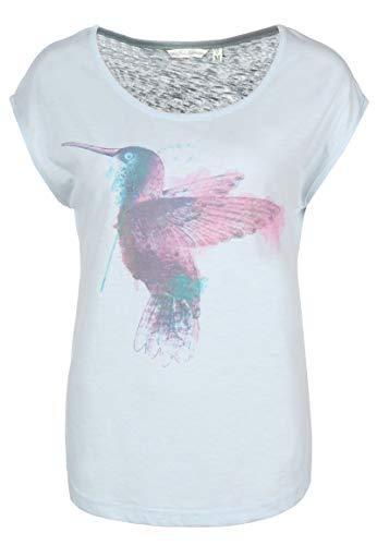 Fresh Made Damen T-Shirt mit Wasserfarben Kolibri Print Light-Blue M