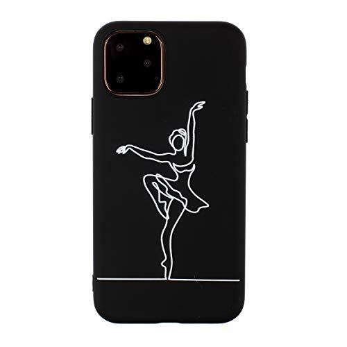 CUAgain Funda Compatible con iPhone 11 Negro Silicona Dibujos Motivo Kawaii Ultrafina One Piece Carcasa Case Antigolpes Bumper Protección Resistente Cover Ballet