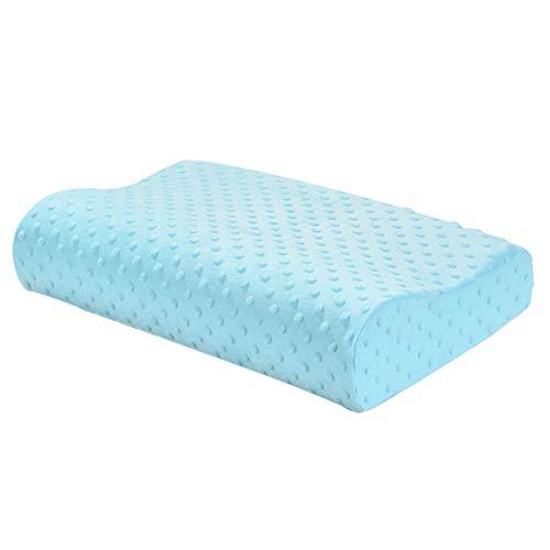 WUCHENG Almohada Masaje Memoria Espuma Almohada Cuello de Sueño Dolor Al Relieve Cervical Piel Moldeado Moldeado Almohada Proteger Cuello Almohada (Color : Blue, Size : 50x30cm)