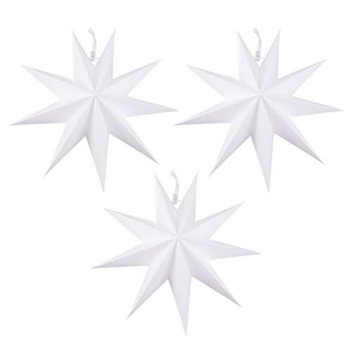 SOLUSTRE 3 Piezas de Pantalla de Lámpara de Estrella Blanca Accesorios de Iluminación de Origami Cubierta de Lámpara de Sombra para Lámpara Colgante Accesorio de Luz 30X30cm