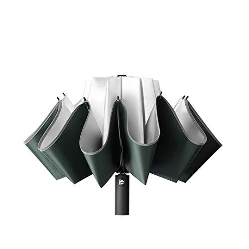 Mdsgfc 10 K paraguas hembra impermeable a prueba de viento reflectante paraguas lluvia anti-UV paraguas rosa tres plegable paraguas automático GREEN1