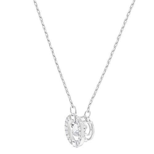 Swarovski Women's Sparkling Dance Round Necklace, Stunning Necklace with Swarovski White Crystals, Rhodium Plated Metal