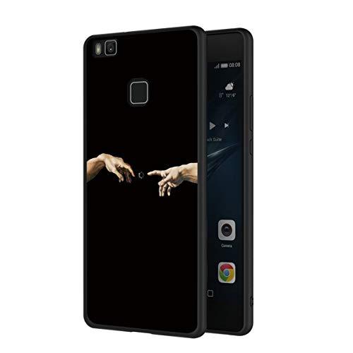 ZhuoFan Funda Huawei P9 Lite Cárcasa Silicona Ultrafina Negra con Dibujos Diseño Suave TPU Gel Antigolpes de Protector Piel Case Cover Bumper Fundas para Movil Huawei P9Lite, Mano