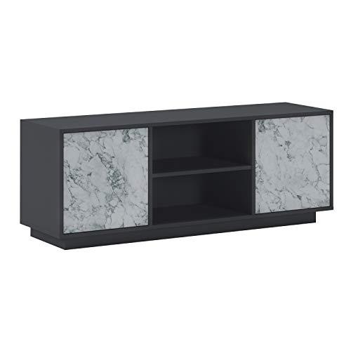 SelectionHome - Mueble TV con 2 Puertas para Salón, Comedor, Modelo Solid, Color Estructura Gris Grafito y Puertas Marmol Blanco Mate, Medidas: 137 cm (Ancho) x 40 cm (Fondo) x 51 cm (Alto)