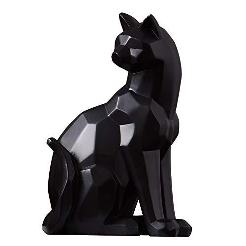 N/X Estatua Regalo Hogar Adornos Decorativas Estilo Origami Escultura de Gato geométrica en Blanco y Negro Figura Animal Abstracta Decoraciones Modernas para el hogar
