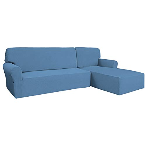 Easy-Going Stretch Sofa Slipcover 2 Pieces L-Shaped Sofa Cover Sectional Couch Cover for Living Room Jacquard Fabric Chaise Lounge Slipcover with Elastic Bottom for Dogs Kids Pets(X-Large,Light Blue)