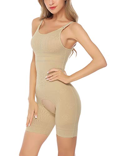 Aibrou Damen Shapewear Bodyformer Figurformender Body Shaping Bauchweg Miederhose Unterhose Unterwäsche Aprikose M